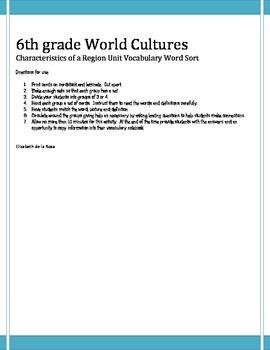6th grade World Cultures Celebrate Freedom Week Word Sort