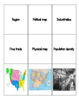 6th grade World Cultures Characteristics of a Region Word Sort