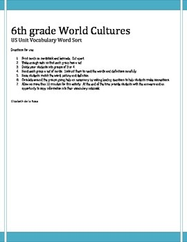6th grade World Cultures US Word Sort