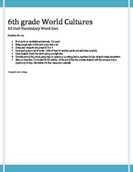 6th grade World Cultures US Word Sort
