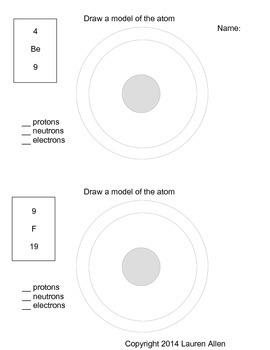 6th grade atom model worksheet low level