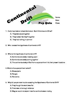 6th grade continental drift pop quiz