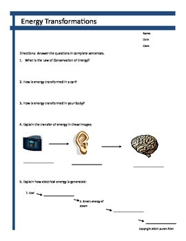 6th grade energy transformations worksheets
