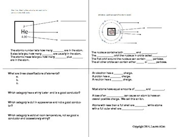 6th grade foldable matter/atoms/periodic table study guide