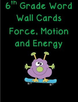 6th grade force, motion, and energy science word wall cards
