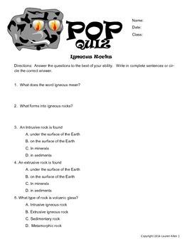 6th grade igneous rock pop quiz