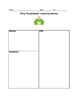 "6th grade listening activity- ""King Thrushbeard"""