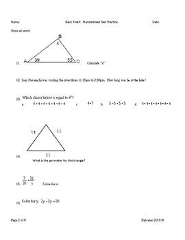 6th grade math/ Basic Math practice work