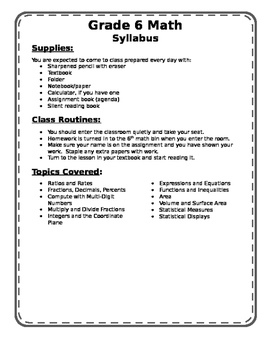 6th grade math syllabus by Ms Sussen Middle School Mania | TpT