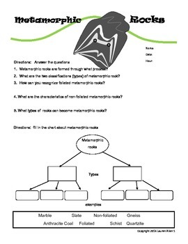 6th grade metamorphic rock worksheet