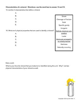6th grade minerals test- very below to basic level