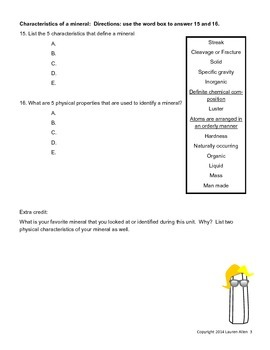 6th grade minerals test- very below to below level