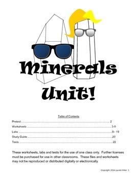 6th grade minerals unit materials