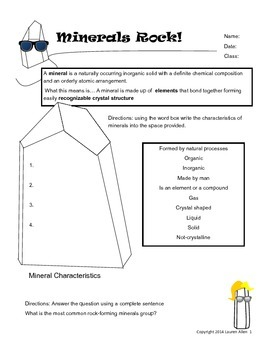 6th grade minerals worksheet - characteristics of a mineral