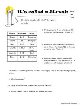 6th grade minerals worksheet - streak test