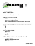 6th grade plate tectonics test- Basic, ESL, SPED