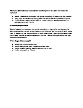 6th grade reading skills HW