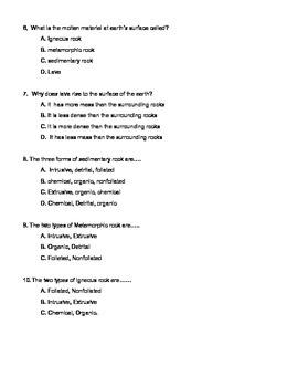 6th grade rock cycle pretest