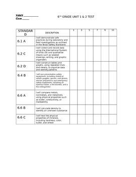 6th grade science TEKS performance tracker for Unit 1 & 2