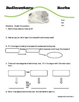 6th grade sedimentary rock worksheet