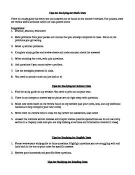 6th grade study skills packet