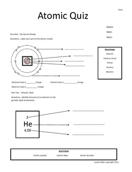 6th grade test Atoms and Periodic Table - low and moderate