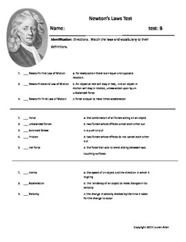 6th grade test on Newton's Laws, Friction and Force- basic reading or esl