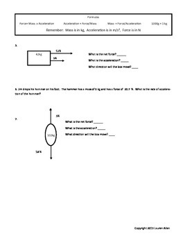 6th grade test on Newton's Laws, Friction and Force- low 6th grade level