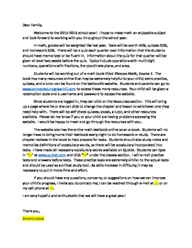 6th grade welcome letter