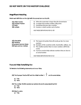 6th or 7th Grade Prerequisites 25 Question Multiple-Choice Test