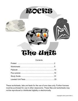 6th rock cycle unit materials