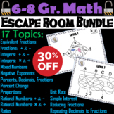 Math Escape Room Bundle 6th 7th 8th Grade