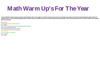 6th/7th Grade Math Warm Up's For The Year