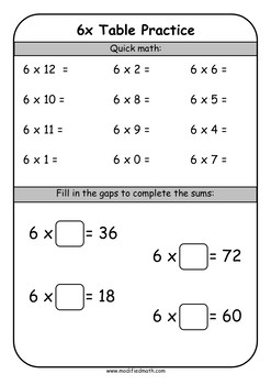 6x Times Table Daily Drills