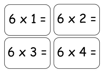 6x Times Table Flashcards
