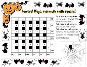 6x6 Advanced Mega Mammoth Halloween Math Square