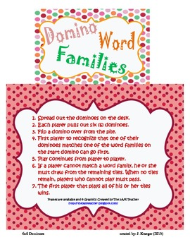 6x6 Domino Word Families