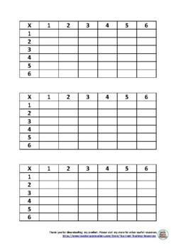 6x6 blank multiplication grid