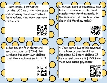 7.10 A , 7.11A  Writing and solving 2 step equations Task Cards w/ QR codes