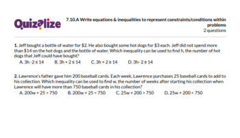 7.10.A Write equations & inequalities to .. | 7th Grade Math TEKS | Print & Scan