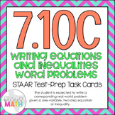 7.10C: Writing Problems from Equations & Inequalities STAAR Test-Prep Task Cards