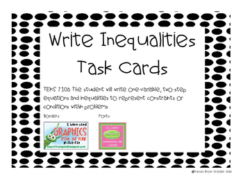7.10a Write Inequalities Task Cards