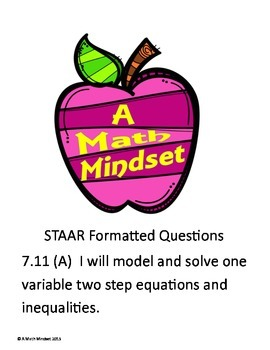 7.11A STAAR Practice problems Solving 2 step equations and