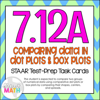 7.12A: Comparing Data in Box Plots & Dot Plots STAAR Test-Prep Task Cards