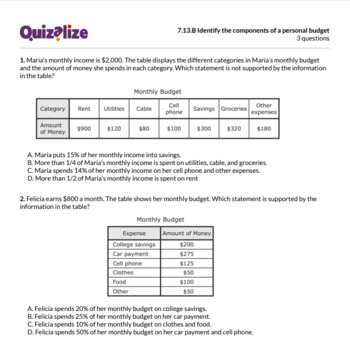 7.13.B Identify the components of a perso.. | 7th Grade Math TEKS | Print & Scan