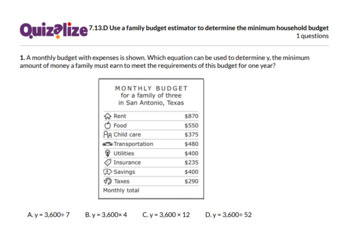 7.13.D Use a family budget estimator to ... | 7th Grade Math TEKS | Print & Scan