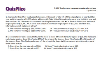 7.13.F Analyze and compare monetary incen.. | 7th Grade Math TEKS | Print & Scan