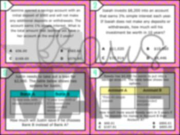 7.13E: Simple & Compound Interest STAAR Test-Prep Task Cards (GRADE 7)