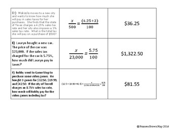 7.13a Sales Tax Match Card Sort with Proportions