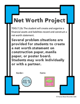 7.13c Net Worth Project Personal Financial Literacy